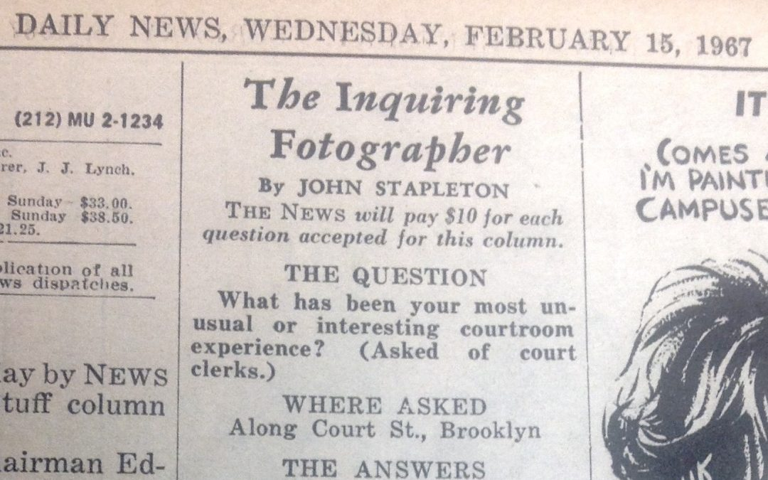 "Daily News, Feb. 15th, 1967-""Kings County Court Clerks interviewed by The Inquiring Photographer"""