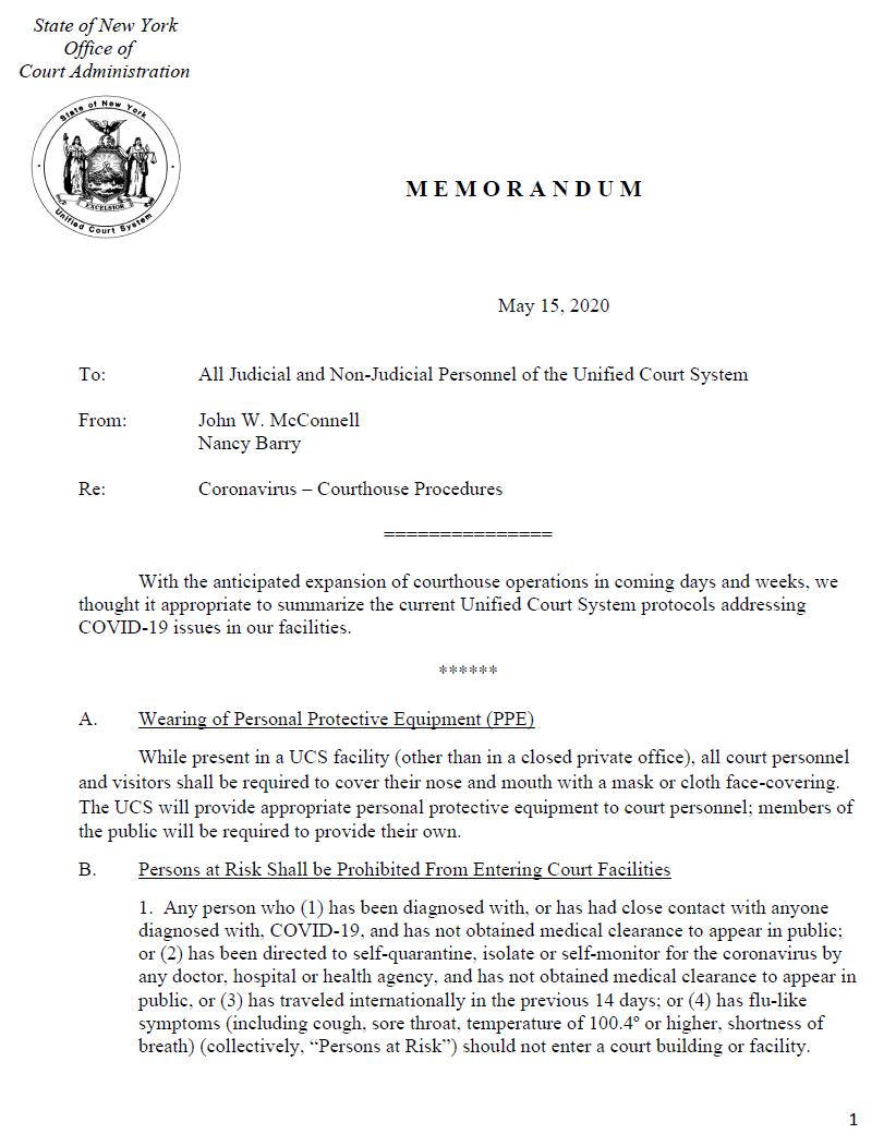 Coronavirus Protocols 5-15-2020