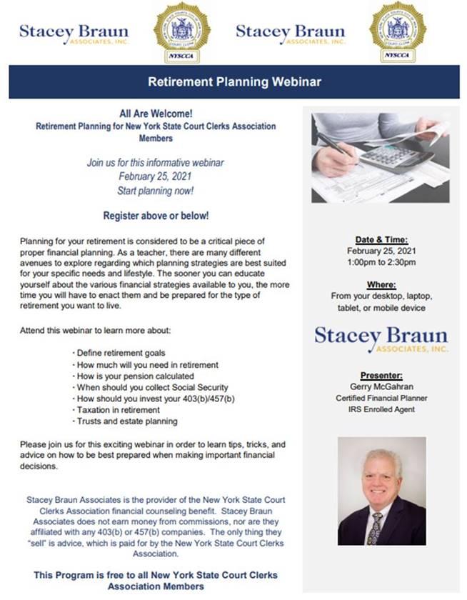 Stacey Braun Retirement Seminar